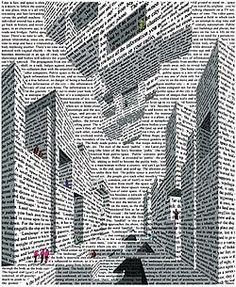 """""""City of Words"""", Vito Acconci (January 1940 - April """"Architecture is not about space but about time."""" Vito Acconci, Performance Artist and Uncommon Architect… Word Art, A Level Art Sketchbook, Newspaper Art, Poster Design, Photocollage, Art Abstrait, Art Plastique, Anime Comics, Oeuvre D'art"""