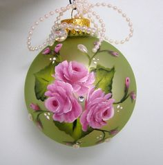 Christmas Ball with Pink Roses Painted on a by purplepetalsstudio, $10.50