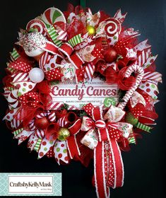Display your love for the Sweetness of the Holidays with this large and very full wreath! This LARGE beautiful deco mesh wreath is approximately 27 Deco Mesh Wreaths, Holiday Wreaths, Ribbon Wreaths, Winter Wreaths, Yarn Wreaths, Floral Wreaths, Burlap Wreaths, Spring Wreaths, Summer Wreath