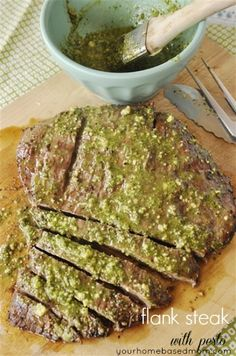 Flank Steak with Pesto is easy and delicious. Add amazing flavor to your steak with pesto.