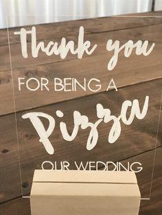 Trish and Kevin- sign at pizza bar Wedding Reception Signs, Wedding Rehearsal, Wedding Boxes, Wedding Catering, Our Wedding, Wedding Ideas, Rehearsal Dinner Food, Rehearsal Dinners, Pizza Wedding