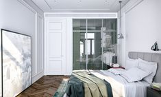 white minimalist bedroom interior design and decor