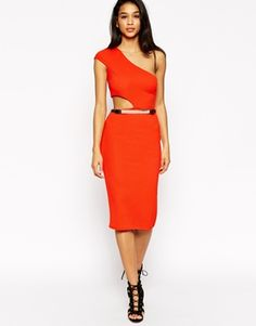 ASOS Texture One Shoulder Cutout Midi Body-Conscious Dress With Gold Belt