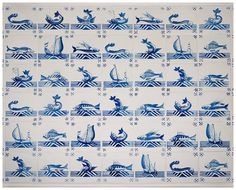 Nautical ships and fishes on dutch tiles by RivuletPhotography, $30.00