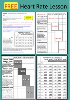 FREE Heart Rate Lesson: This resource will help anyone get a good understanding of what their own heart rate should be according to their age, how and why to determine the training zones they should spend the most time in when working out. Elementary Physical Education, Elementary Pe, Health And Physical Education, Health Class, School Health, Elementary Counseling, Elementary Library, Music Education, Physical Fitness