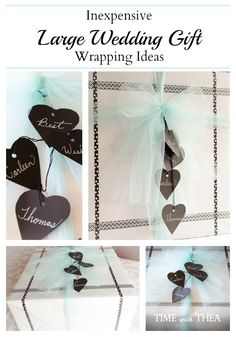 Inexpensive Large Wedding Gift Wrapping Ideas ~ Wrapping a large wedding gift so it is pretty does not have to be pricey using these easy inexpensive ideas!
