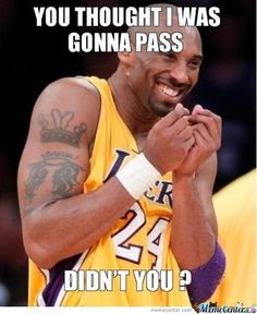 Just Kobe Bryant.my 9 yo. nephew plays like Kobe.never passes. Funny Nba Memes, Funny Basketball Memes, Basketball Quotes, Basketball Drills, Love And Basketball, Basketball Players, Basketball Stuff, Kobe Memes, Nba Players