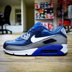 premium selection afe88 94aeb Nike Air Max 90 LTR Leather Navy Grey NSW Mens Casual   Running Shoes  Sneakers