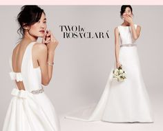 Two by Rosa Clara A-Line Boatneck gown with sweeping train #NordstromWeddings