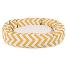 Majestic Pet 52 inch Chevron Sherpa Bagel Bed Removable Cover, Yellow