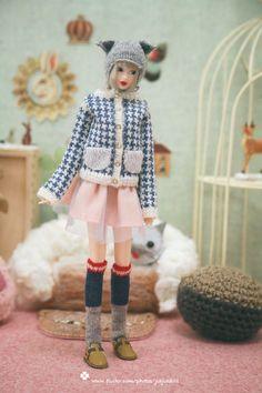 jiajiadoll Hand Knit blue and grey stocking socks by jiajiadoll