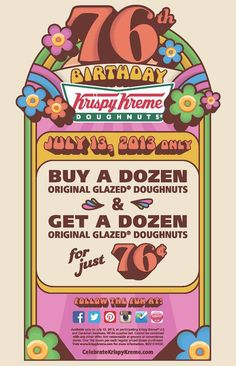 Couldn't make it to see us on National Doughnut Day? Wait until you see what we're doing for our birthday http://krispykreme.com/76th