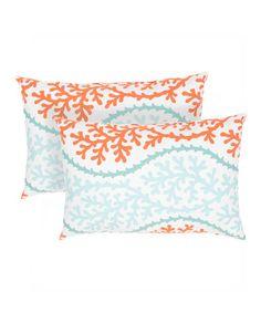 Love this Blue & Orange Coastal Veranda Rectangle Throw Pillow - Set of Two on #zulily! #zulilyfinds