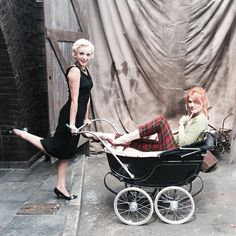 Helen George (Trixie) and Emerald Fennell (Patsy) behind the scenes Patsy And Delia, Emerald Fennell, Helen George, The Brave One, Bbc Drama, Star Wars, Midwifery, Prams, Old Tv