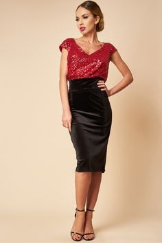 Rochie de ocazie cu paiete rosii si fusta de catifea - Red Sequin  and Velvet Evening Dress Leather Skirt, Formal Dresses, Skirts, Fashion, Dresses For Formal, Moda, Leather Skirts, La Mode, Skirt