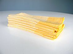 Vintage Napkins Cloth Dinner Yellow Gingham Summer by MustyMusts, $18.00