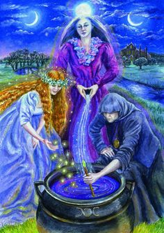 "Magick Wicca Witch Witchcraft: ""Triple Goddess,"" by Wendy Andrew. Celtic Goddess, Celtic Mythology, Goddess Art, Goddess Pagan, Pagan Gods, Tarot Celta, Maiden Mother Crone, Symbole Viking, Pagan Art"
