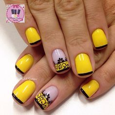 This vibrant and really pretty yellow nail art design is a blend of flower, laces as well as french tip designs. here, the base color of the nails is Simple Nails Design, Nail Design Spring, Simple Nail Art Designs, Easy Nail Art, Cool Nail Art, Pretty Nail Designs, Pretty Nail Art, Beautiful Nail Art, French Tip Nail Art