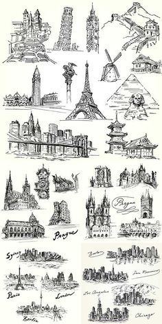 Иллюстрации городов мира в векторе