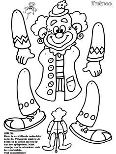 Clown - Trekpop - Knutselpagina.nl - knutselen, knutselen en nog eens knutselen. Clown Crafts, Circus Crafts, Carnival Crafts, Candy Crafts, Carnival Themes, Circus Theme, Paper Crafts, Fruit Coloring Pages, Clown Party