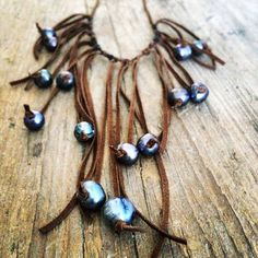 NEW Suede Fringe & Pearl Necklace by SeaSaltJewelryCo on Etsy