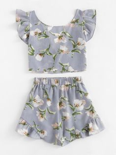 Allover Florals Bow Tie Detail Frill Top With ShortsFor Women-romwe Girls Fashion Clothes, Teen Fashion Outfits, Outfits For Teens, Girl Fashion, Casual Outfits, Summer Outfits, Fashion Design, Really Cute Outfits, Pretty Outfits