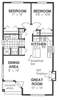 Like the size and layout of the living area. I would combine the bedrooms and change up the baths to be 1 1/2 baths.