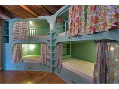Love the curtains on these bunk beds!  Great idea!