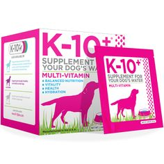 K-10+ Multi-Vitmamin Water Soluble Dog Supplements is specially designed to support overall health, wellness and vitality.  Every packet of K-10+ Multi-Vitamin provides your dog with essential vitamins, minerals and electrolytes.