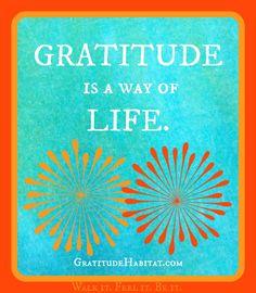 Gratitude is a way of life.   www.GratitudeHabitat.com #gratitude-quote