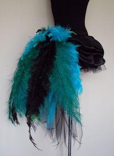Green Blue Black PEACOCK Burlesque Satin Tutu skirt size 4 -10 U.S. 6 -12 U.K.. $95.00, via Etsy.