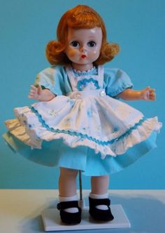 "1955 Madame Alexander-kin Doll ~ 8"" SLW ~ triple-stitch tosca wig & blue eyes #MadameAlexander #Dolls"