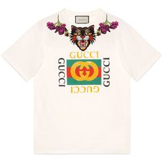Gucci Angry Cat Embroidered Cotton T-Shirt ($990) ❤ liked on Polyvore featuring tops, t-shirts, pink, print t shirts, floral t shirt, gucci t shirt, oversized white t shirt and gucci tee