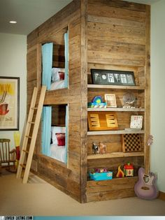 Bunk beds for kids that don't look like hell. The bunk beds. The bunk beds don't look like hell. Loft Spaces, Kid Spaces, Small Spaces, Small Rooms, Built In Bunks, Built Ins, Deco Kids, Diy Casa, Diy Home