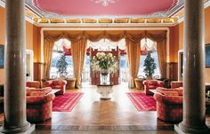 Grand Hotel Tremezzo: luxury hotel on Lake Como, Italy Foyer Staircase, Staircases, Italian Lakes, Places In Europe, Hotel Lobby, Lake Como, Reception Rooms, Grand Hotel, Luxury Interior