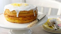Iced Lemon Curd Layer Cake by Delia Smith.