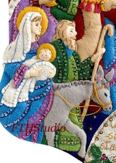 Bucilla Christmas Stocking The Procession 86055 Felt Applique Kit for sale online Christmas Stocking Kits, Felt Christmas Stockings, Crochet Christmas Ornaments, Christmas Christmas, Types Of Embroidery, Embroidery Patterns, Beautiful Christmas Decorations, Hardanger Embroidery, Felt Applique