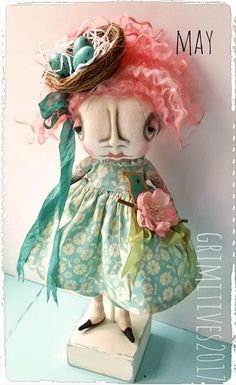 MAY available in my Grimitives Etsy shop https://www.etsy.com/listing/512481506/pink-hair-art-doll-by-grimitives-may