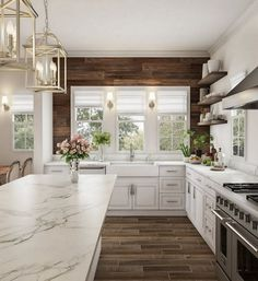Rustic Kitchen Ideas - Rustic kitchen cabinet is a gorgeous combination of nation home and farmhouse decor. Browse 30 ideas of rustic kitchen design below Modern Farmhouse Kitchens, Home Kitchens, Rustic Chic Kitchen, Dream Kitchens, Rustic White Kitchens, Farmhouse Style, Farmhouse Decor, Farmhouse Lighting, Kitchen Modern