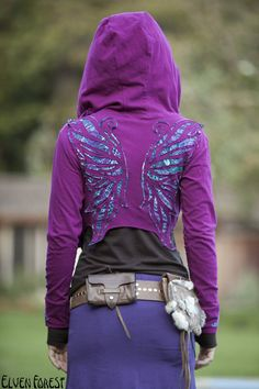 Magenta Peacock Winged Hoodie Wrap by Elven Forest Creations purple hoodie +wing stencil? Peacock Wings, Butterfly Wings, Magenta, Purple, Festival Wear, Festival Outfits, Festival Clothing, Grunge Goth, Diy Fashion