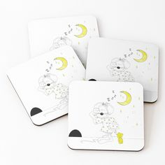 'Copy of Sleepy Mouse' Coasters by Melikar Cup Mat, Cold Drinks, Coaster Set, Floor Pillows, Wall Tapestry, Mugs, Prints, Decor, Cool Drinks