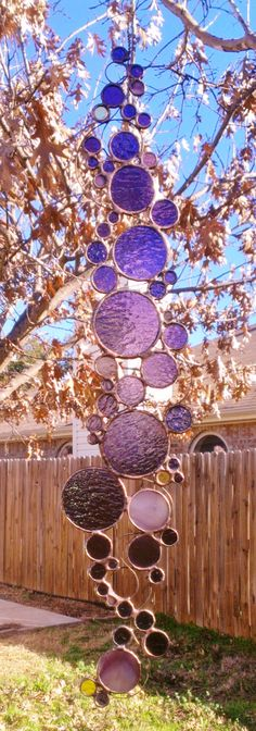 Stained glass Abstract Circle on Copper Wire by JBsGlassHouse