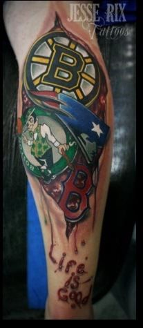 Boston Sports! Representing New England right there! Sweet tattoo!!