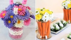 With flowers, candy and carrots, these Easter centerpieces are perfect for everything from your egg-dying parties to spring brunches to family dinners.