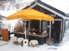 champagne shack slope side in Switzerland. bomb