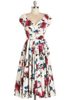 ModCloth Long Cap Sleeves Fit & Flare Layered Cupcakes Dress in Red and Blue from ModCloth. Saved to Eu Quero!.