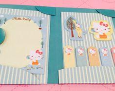 Filofax supplies sticky notes page markers organizer planner set refills a5 personal scrapbook kawaii kikki k pink teal theme kitty cat