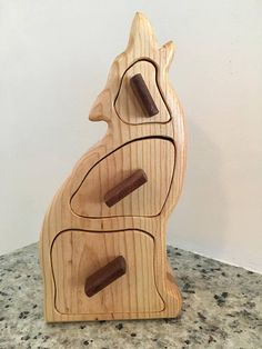 3 Drawer Howling Wolf Bandsaw Box