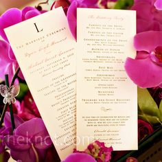 "Remembering loved ones at bottom of program. The rectangular ceremony programs were printed on shimmery white paper and had a monogram ""L"" for the couple's new shared initial."