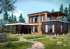 Проект дома из клееного бруса с плоской крышей